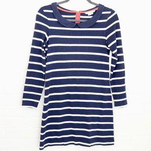 Boden | Navy stripe tunic dress | Peter Pan collar